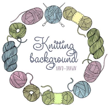 gomitoli di lana: Disegnata a mano cornice maglia illustrazione vettoriale