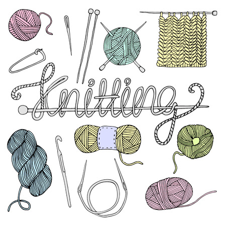 Hand drawn vector  knitting set isolated on white background Vettoriali