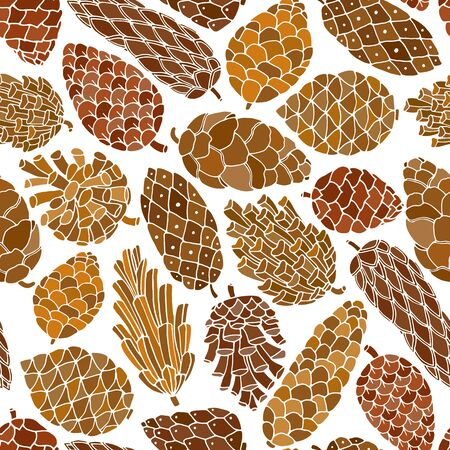 siberian pine: Pine cones vector seamless pattern on white background