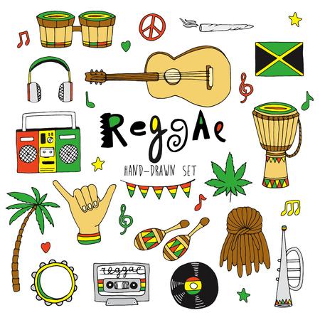 reggae: Main vecteur trac� musique reggae ensemble isol� sur fond