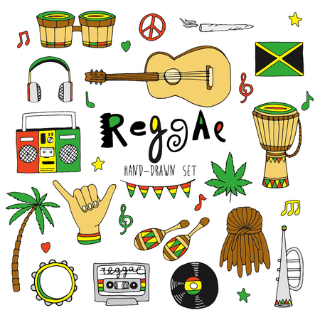 Hand drawn vector reggae music  set isolated on background