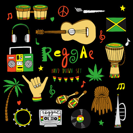 instrumentos de musica: Mano vector dibujado música reggae conjunto aislado en el fondo