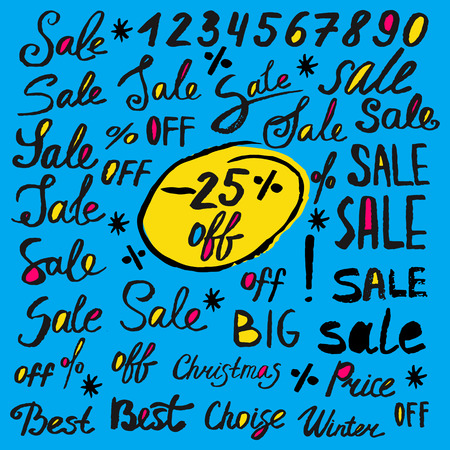 shop sign: Hand drawn sale label and tag lettering text