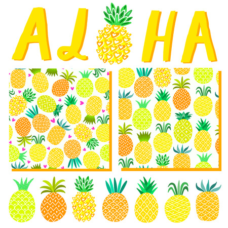 Aloha Hawaii summer background. Beach party illustration template, pattern, lettering for invitation card