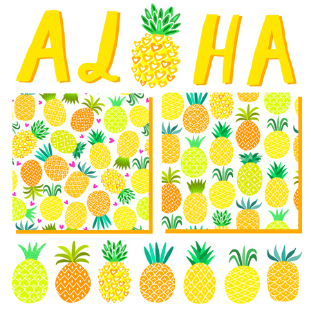 Aloha Hawaii summer background. Beach party illustration template, pattern, lettering for invitation card.
