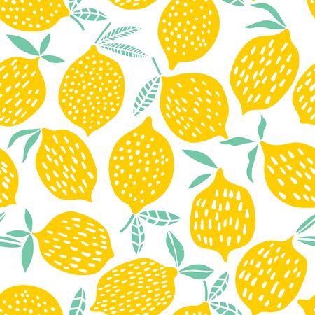 Lemon seamless pattern vector illustration. Summer fruit design Vetores