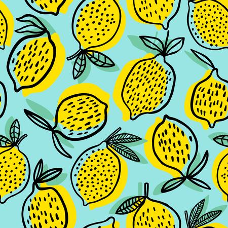 Lemon seamless pattern vector illustration. Summer design illustration.