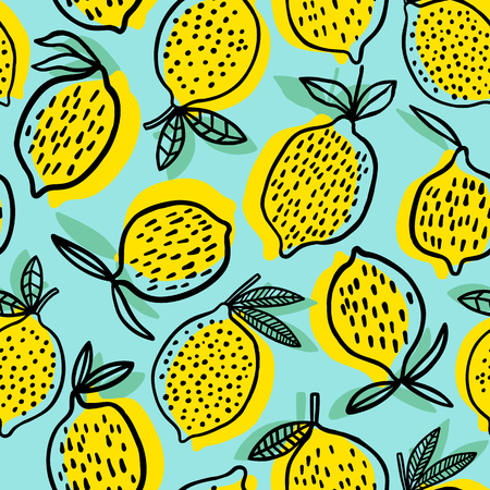 Lemon seamless pattern vector illustration. Summer design illustration.