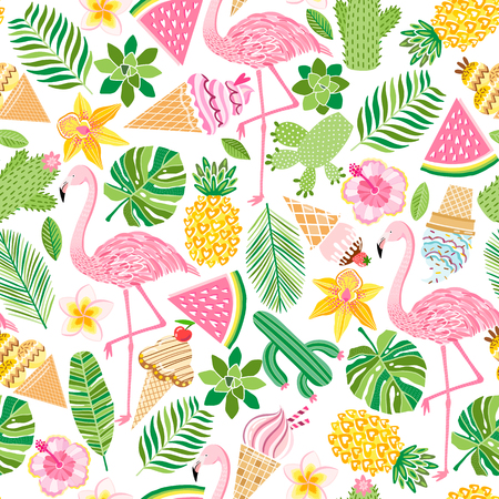 Vector tropical seamless pattern. Summer background isolated on white