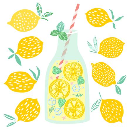 Vector lemonade illustration Lemon juice drink Illustration