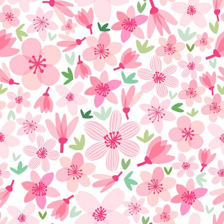 Vector cherry blossom seamless pattern. Sakura background illustration. Illustration