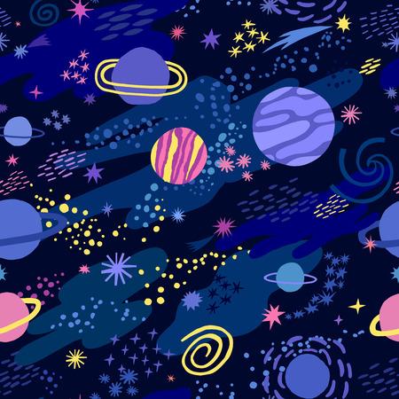 Przestrzeń wektor wzór z gwiazdą i planetą