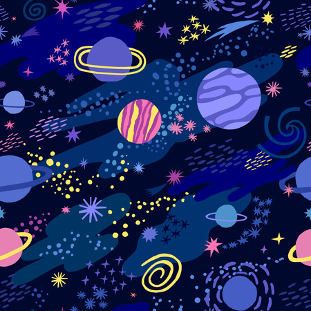 A Vector space seamless pattern with star and planet