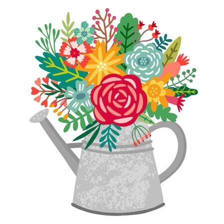 Vector flower bouquet in watering can. Spring floral illustration Vettoriali