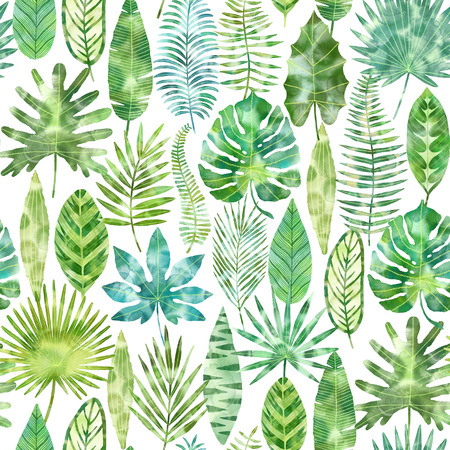 Watercolor tropical green exotic leaves pattern