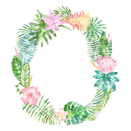 Summer watercolor tropical leaves frame