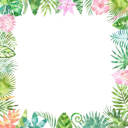 Watercolor green tropical plants frame, place for your text. White background isolated. Wedding invitation, card design Standard-Bild
