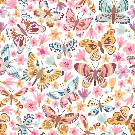 Vector butterfly seamless pattern