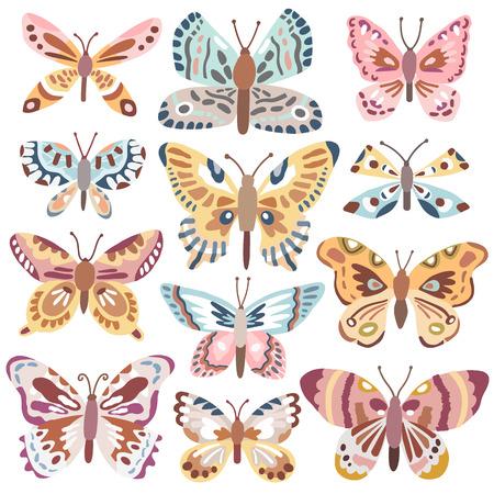 Vector cute butterfly set