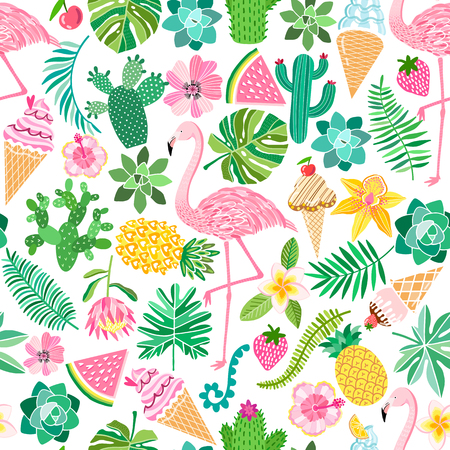 Vector tropical seamless pattern. Summer flamingo background