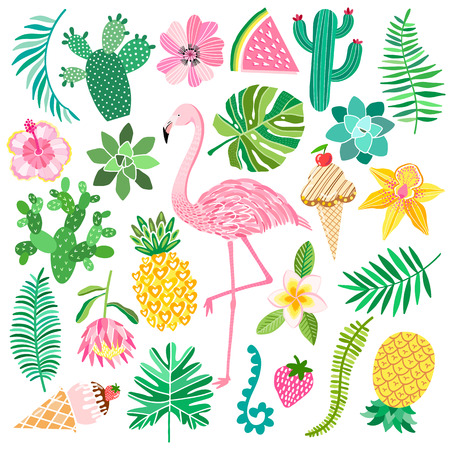 Tropic summer vector set. Flamingo, exotic plants and flowers Standard-Bild