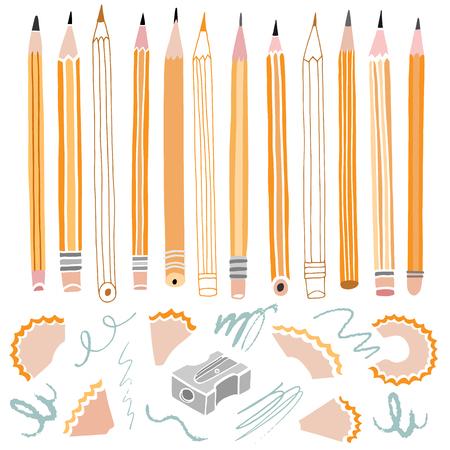 Vector pencil illustration. School stationery Illustration