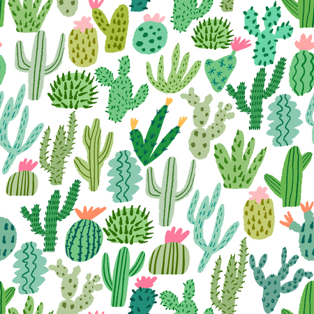 Cactus seamless pattern. Mexican vector background Illustration