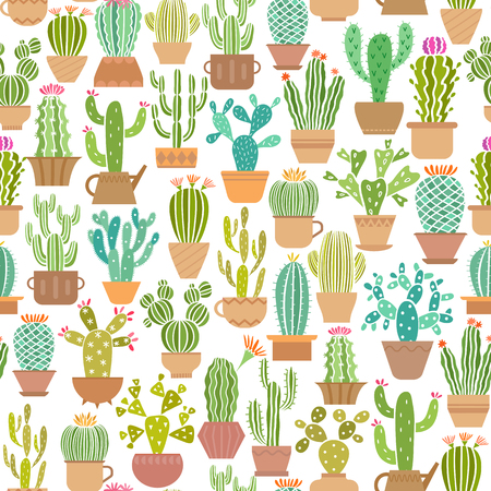 Cactus in pot vector seamless pattern isolated Illustration