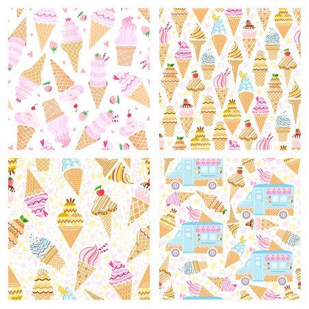 Vector pink ice cream seamless pattern. Funny bacground