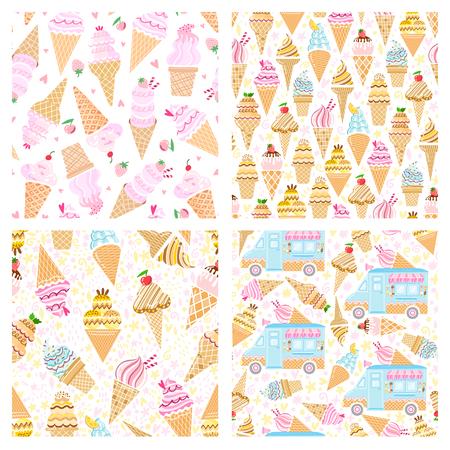 Vector ice cream seamless pattern