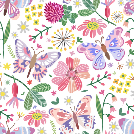 Vector summer meadow seamless pattern. Flowers, butterfly