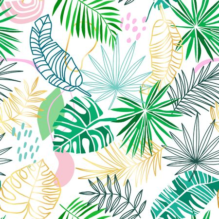 Tropical vector seamless pattern. Summer tropic background. Green, gold, pink jungle leaves isolated on white