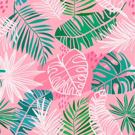 Tropical vector seamless pattern. Summer tropic floral plantbackground. Green jungle leaves on pink background