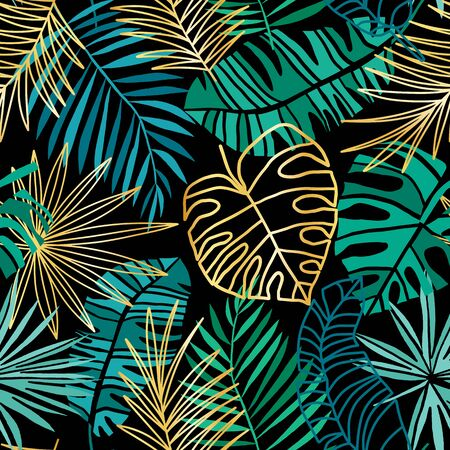 Tropical vector seamless pattern. Summer tropic background. Green and pink jungle leaves isolated on white