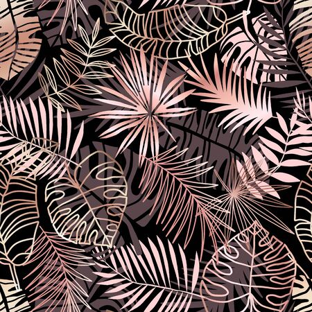 Rose gold tropical seamless pattern with palm leaf, monstera. Pink jungle leaves on black background Illustration