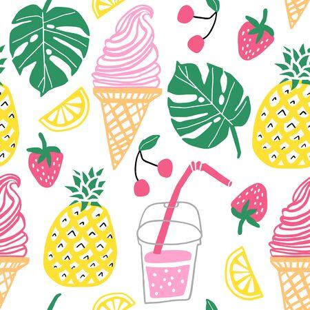 Summer vector seamless pattern. Line cute doodle