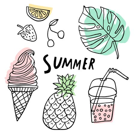 Summer vector set. Line cute doodle collection isolated
