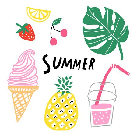 Summer vector set. Hand drawn cute doodle collection isolated Illustration