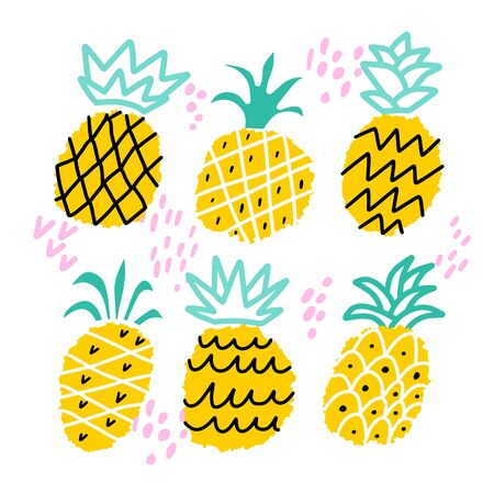 Vector pineapple illustration set. Hand drawn summer fruits isolated on white