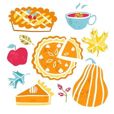 Thanksgiving pumpkin pie plate, piece. Pumpkin cake slice vector food Illustration