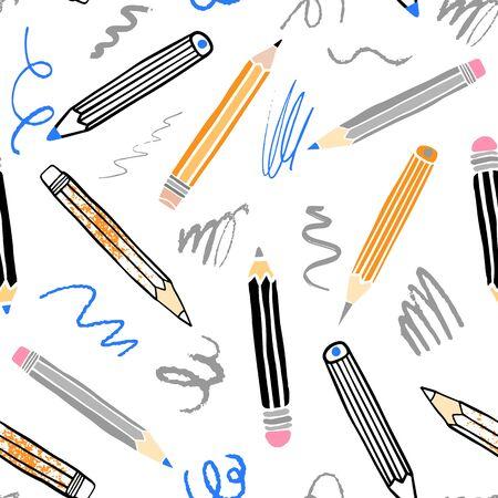 School pensil seamless pattern. Hand drawn illustration
