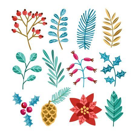 Winter christmas plants illustrations set. Poinsettia, spruce, pine, cedar, mistletoe. Festive Xmas decor, plant branches flora foliage