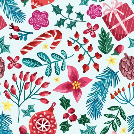 Christmas vector seamless pattern. Winter hand drawn christmas background isolated on blue Illustration
