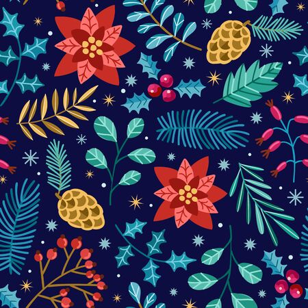 Christmas vector seamless pattern. Winter hand drawn christmas background isolated on black