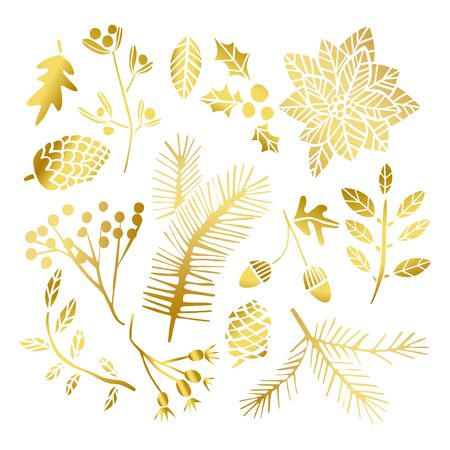 Gold leaf winter set. Christmas golden leaves. Holiday winter flower elements Vecteurs