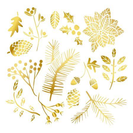Gold leaf winter set. Christmas golden leaves. Holiday winter flower elements Illustration