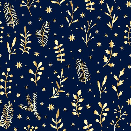 Vector golden Christmas seamless pattern. Holiday background with leaves, branches, berries and pine cones. Floral illustration isolated on blue Illustration
