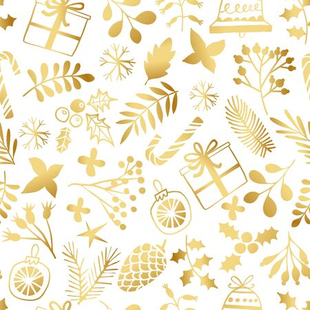 Christmas golden seamless pattern. Winter Holiday gold background. Merry Christmas pattern Illustration