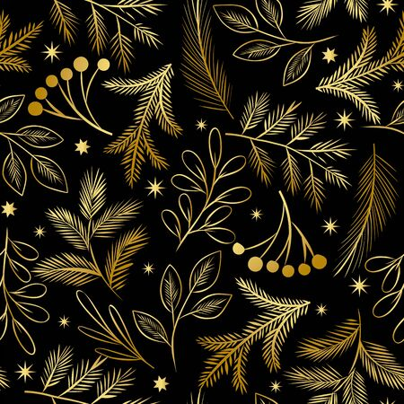 Vector golden Christmas seamless pattern. Holiday background with leaves, branches, berries and pine cones. Floral illustration isolated on black Illustration