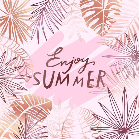Tropical rose gold leaf vector background. Pink bronze exotic floral summer banner.